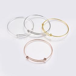 изготовление латунных расширяемых браслетов, браслеты крутящий момент, cmешанный цвет, 2-1 / 2 (63 мм); 1.5 мм(MAK-P008-02)