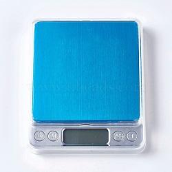 Outil de bijoux, mini balance de poche électronique numérique en acier inoxydable, avec couvercle en plastique et batterie de style aléatoire, rectangle, couleur inoxydable, 128x106x19mm(TOOL-TAC0003-02)