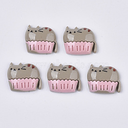 Resin Kitten Cabochons, Cartoon Cat Shape, Gray, 17x20x5.5mm