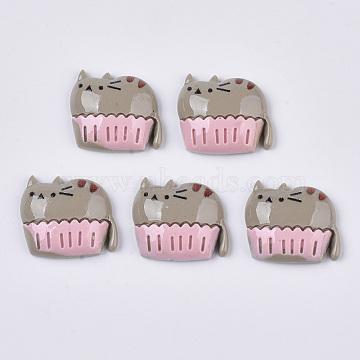Resin Kitten Cabochons, Cartoon Cat Shape, Gray, 17x20x5.5mm(X-CRES-R192-09)
