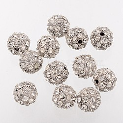 Platinum Alloy Rhinestone Round Beads, Grade A, 12mm, Hole: 1.5mm