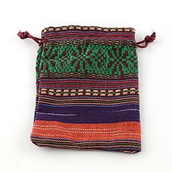 Pochettes d'emballage en tissu de style ethnique, rectangle, violet, 14x10 cm(X-ABAG-R006-10x14-01F)