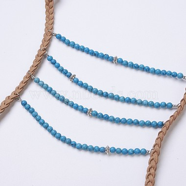 Natural & Synthetic Mixed Stone Tiered Necklaces(NJEW-JN02124)-3