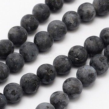 Natural Larvikite/Black Labradorite Beads Strands, Frosted, Round, 8mm, Hole: 1mm, about 48pcs/strand, 15.1 inches(X-G-D692-8mm)