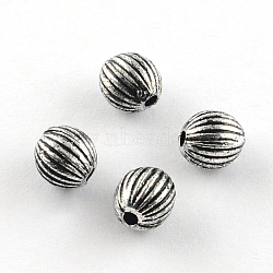 Round Antique Acrylic Corrugated Beads, Antique Silver, 6mm, Hole: 1.5mm(X-PACR-S208-83AS)