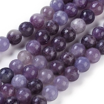 Natural Lepidolite/Purple Mica Stone Beads Strands, Round, 6mm, Hole: 1mm, about 63pcs/strand, 15.94 inches(40.5cm)(G-E545-01A)