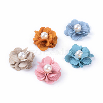 Handmade Cloth Woven Costume Accessories, with ABS Plastic Imitation Pearl, Flower, Mixed Color, 24~27x10mm(X-WOVE-Q064-05)