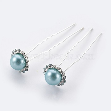 Silver MediumTurquoise Iron Hair Forks