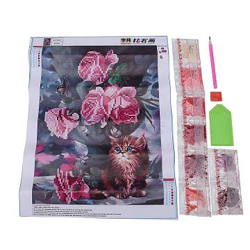 DIY Diamond Painting Canvas Kits For Kids, with Resin Rhinestones, Diamond Sticky Pen, Tray Plate and Glue Clay, Cat with Flower, Mixed Color, 40x30cm(DIY-F059-13)