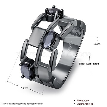 Trendy Hollow Brass Glass Rings, Black, Gunmetal, US Size 9(18.9mm)(RJEW-BB20239-D-9)