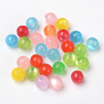 8mm in various colours cat/'s eye round resin beads 6mm
