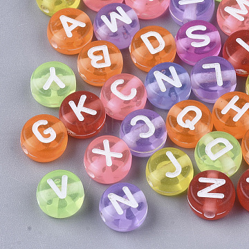 Transparent Acrylic Beads, Flat Round with Random Initial Letter, Mixed Color, 7x4mm, Hole: 1.5mm, about 5555pcs/500g(MACR-S299-056)