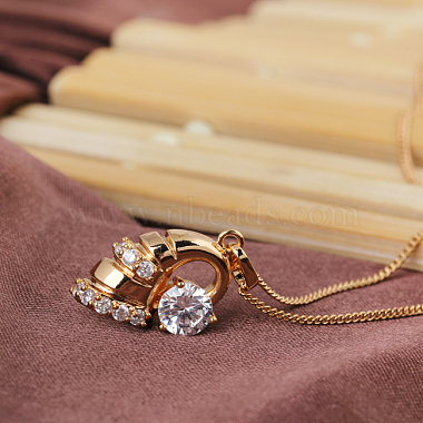 Exquisite Conch Shape Brass Cubic Zirconia Pendant Necklaces(NJEW-EE0001-17G)-3