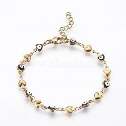 """Bracelets avec chaîne de lien en 304 acier inoxydable, avec l'émail et le homard fermoirs pince, coeur avec le mauvais œil, noir, 7-1/4"""" (18.5 cm)(BJEW-P236-30G-05)"""
