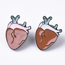 Creative Zinc Alloy Brooches, Enamel Lapel Pin, with Iron Butterfly Clutches or Rubber Clutches, Electrophoresis Black Color, Anatomical Heart Shape, Random Single Color or Random Mixed Color, 23x16mm, Pin: 1mm(JEWB-Q031-091)