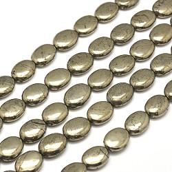 "Ovales pyrite naturelle perles brins, 14x10x5mm, trou: 1mm; environ 28 pcs/chapelet, 15.7""(G-I126-19-14x10mm)"