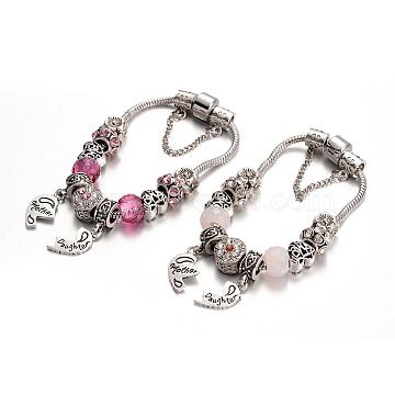 Alloy Rhinestone Bead European Bracelets, with Glass Beads and Brass Chain, Mixed Color, 180mm(BJEW-L602-08)