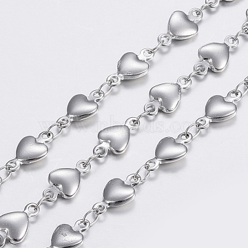 304 Stainless Steel Chains, Heart Link Chains, Soldered, Stainless Steel Color, 10x5x2mm(X-STAS-P197-038P)