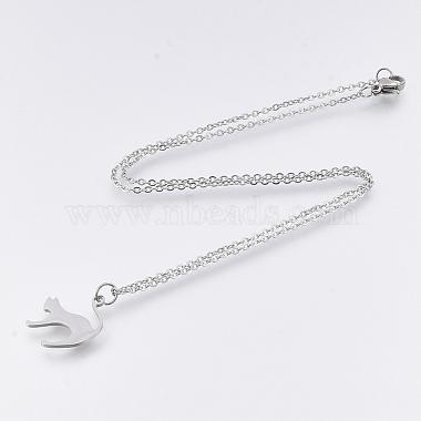 201 Stainless Steel Kitten Pendant Necklaces(NJEW-T009-JN126-40-1)-2