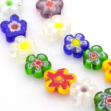 Handmade Millefiori Glass Bead Strands, Flower, Mixed Color, 10~12x4mm, Hole: 1mm; about 42pcs/strand, 16 inches(X-LAMP-J035-10mm-M)