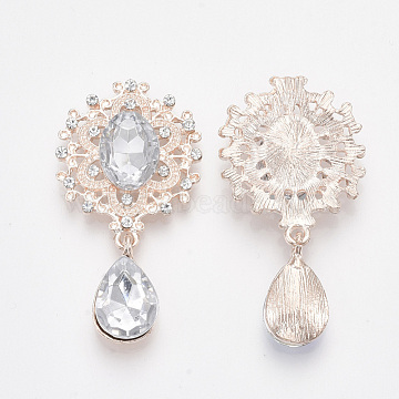 Rose Gold Plated Alloy Cabochons, with Resin Rhinestone and Crystal Glass Rhinestone, Faceted, Oval and teardrop, Clear, 45x24x5mm(X-RB-S066-01RG-19)