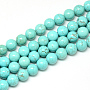 Synthetic Turquoise Beads Strands, Dyed, Round, 8mm, Hole: 1mm; about 48pcs/strand, 14.9""