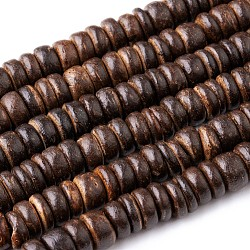 Coco Nut Beads Strands, Flat Round, Chocolate, 8x2~6mm, Hole: 2mm, about 88~110pcs/strand, 14.56 inches~16 inches(X-CP014Y)