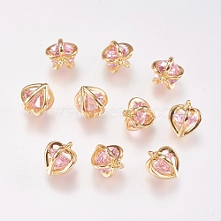 Real Gold Plated Pink Heart Brass+Glass Charms(KK-P138-08A)
