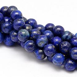 Natural Lapis Lazuli Round Beads Strands, Dyed, 8mm, Hole: 1mm; about 46pcs/strand, 15.5inches