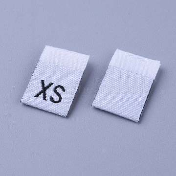 Clothing Size Labels(XS), Garment Accessories, Size Tags, White, 18x12.5x1mm, 200pcs/bag(FIND-WH0045-B01)