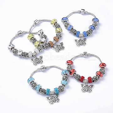 Brass European Style Bracelets, with Acrylic and Polymer Clay Rhinestone European Beads, Alloy Rose Beads and Butterfly Pendants , Mixed Color, 7-1/4 inches(18.5cm)(BJEW-JB05136)