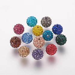 Polymer Clay Rhinestone Beads, Grade A, Round, Pave Disco Ball Beads, Mixed Color, 10x9.5mm, Hole: 1.5mm(RB-K050-10mm-C)