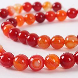 """Chapelets de perles rondes en pierre d'agate naturelle, teint, orange rouge , 8mm, trou: 1mm; environ 49 pcs/chapelet, 14.96""""(G-E233-15)"""