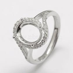 pièces d'anneau de doigt en argent sterling réglables 925, avec zircons, ovale, platine, plateau: 9x7 mm; 17 mm(STER-P033-12P)