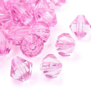 ярко-розовые прозрачные акриловые граненые биконусы(X-PL488Y-2)-1