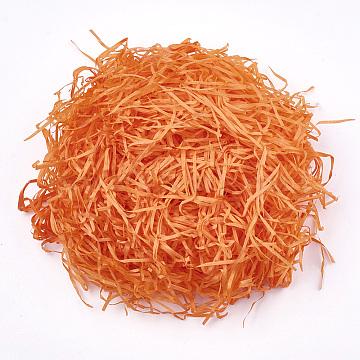 Decorative Raffia Tissue Scraps Paper Packing Material, For Gift Filler, Dark Orange, 2~4mm(DIY-Q017-04)
