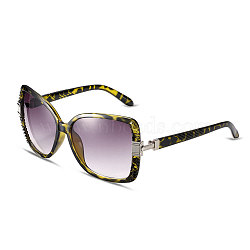 Leopard Print Women Cat Eye Summer Sunglasses, Yellow Plastic Frames and PC Space Lens, Inky, 5.1x14cm(SG-BB14525-1)