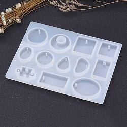 Moules en silicone pendentif bricolage, moules de coulée de résine, outil de fabrication de bijoux pour la résine uv, fabrication de bijoux en résine époxy, formes géométriques mixtes, blanc, 153x114x8.5mm(AJEW-P041-02)
