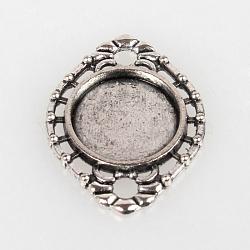 Старинные тибетские сплава Стиль Овальный разъем сеттинги кабошон ободок, античное серебро, плоско-круглый лоток : 14 мм ; 29x21x2 мм, отверстие : 3 мм(X-TIBE-O001-06AS)