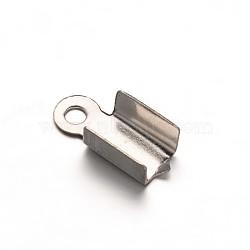 304 extrémité à sertir pliante en acier inoxydable pour cuir, couleur inoxydable, 10x4x3.5mm, Trou: 1mm(STAS-G170-07P)