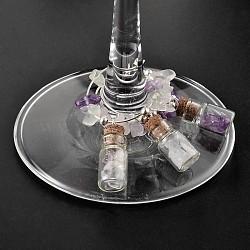 Стеклянная бутылка бокал подвески, с драгоценный камень посеребренные металлические фурнитуры, 50x26x10 мм(AJEW-JO00128)