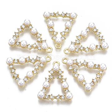 Alloy Pendants, with Crystal Rhinestone and ABS Plastic Imitation Pearl, Triangle, Light Gold, 25x20x5.5mm, Hole: 1.5mm(PALLOY-T077-16)