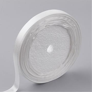 Single Face Satin Ribbon, Polyester Ribbon, White, 1/4 inch(6mm), about 25yards/roll(22.86m/roll), 10rolls/group, 250yards/group(228.6m/group)(RC6mmY042)