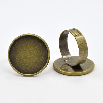 Brass Adjustable Ring Blank Base Cabochon Setting Components, Nickel Free, Antique Bronze, Tray: 21mm; 20mm(X-KK-O003-05AB-NF)