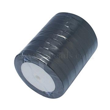 Garment Accessories 1/4 inch(6mm) Satin Ribbon, Black, 25yards/roll(22.86m/roll)(X-RC6mmY039)
