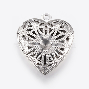 304 Stainless Steel Pendant Rhinestone Settings, Locket Pendants, Heart, Stainless Steel Color, 11x14mm, 22.5x19x5.5mm, Hole: 2mm(X-STAS-E421-004P)