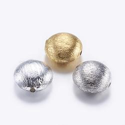 perles en laiton texturées, plat rond, couleur mélangée, 15x7 mm, trou: 2 mm(KK-K197-52)