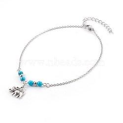 """Bracelets de cheville synthétiques turquoise, avec des pendentifs en alliage de style tibétain, accessoires en 304 acier inoxydable et clou tête boule en fer, éléphant, argent antique et platine, 9-7/8"""" (25.1 cm), pendentif: 12x14x3 mm(AJEW-AN00234-03)"""