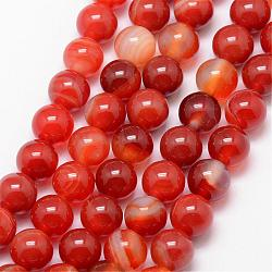 Natural Striped Agate/Banded Agate Bead Strands, Round, Grade A, Dyed & Heated, OrangeRed, 10mm, Hole: 1mm; about 37pcs/strand, 15inches