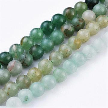Natural Green Aventurine Beads Strands, Round, 8~8.5mm, Hole: 1mm, about 47pcs/strand, 15.5 inches(X-G-Q462-8mm-20)